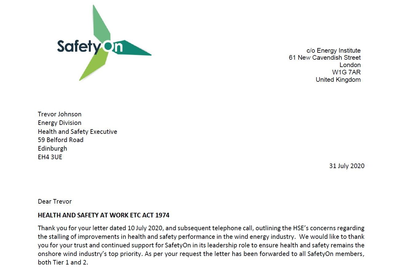 SafetyOn letter pic